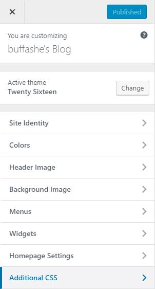 Theme customize page